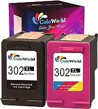 ColoWorld 302XL - Cartuchos de Tinta de Repuesto para Impresora HP 302 Officejet 5230 5220 3831 3833 3830 3832 4650 5252 5255 Deskjet 1110 2130 3639 3630 3636 Envy 4525 4520 (1 Color Negro)