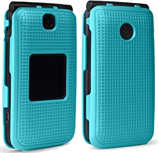 Case for Alcatel Go Flip V, Nakedcellphone [Teal Mint Cyan] Protective Snap-On Cover [Grid Texture] for Alcatel Go Flip, M...