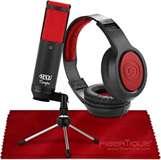 MXL Tempo KR USB Cardioid Condenser Microphone (Black/Red) with Studio Headphones Accessory Bundle