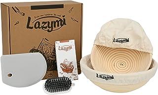Lazymi Lot de 2 paniers à pain en rotin et coupe-pâte en silicone Gris