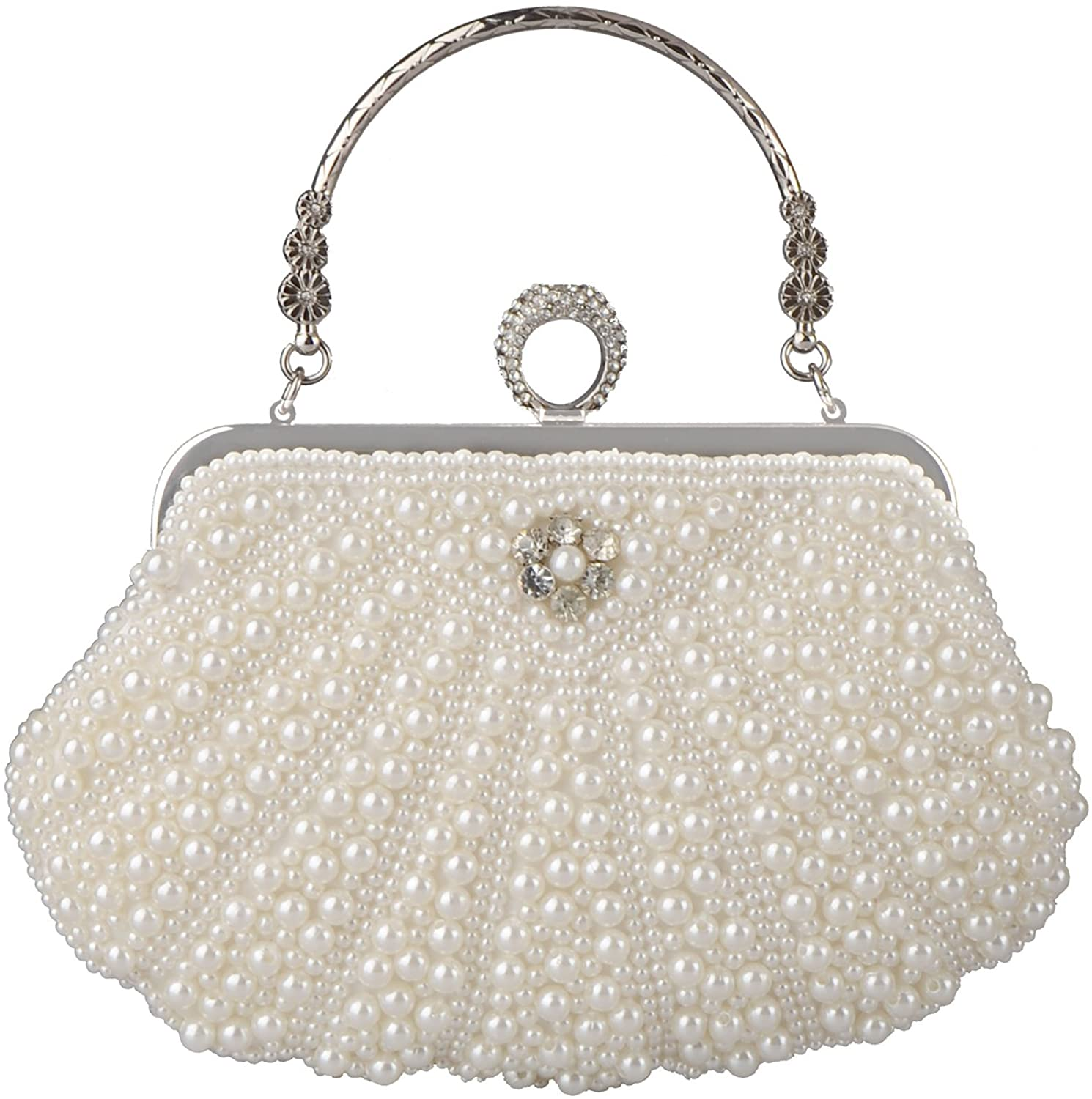 BAGLAMOR Ranking TOP15 low-pricing White Clutch Purses for Women Evening Bag Pearl