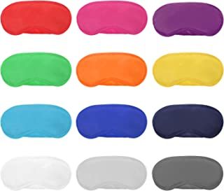 Hicarer 12 Pieces Multicolor Eye Mask Cover Lightweight Blindfold Sleep Mask with Nose Pad and Elastic Straps for Kids Women Men, 12 Colors