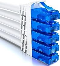 deleyCON 5X 1m CAT6 Cable de Red U-UTP RJ45 Cat-6 Cable LAN Cable de Parche Cobre para Switch Router Módem Repetidor Patch Panel - Blanco