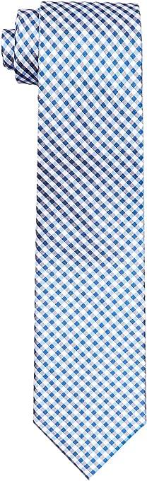 Calvin Klein Men's Silk Tie Navy Plaid Check, Black, One size