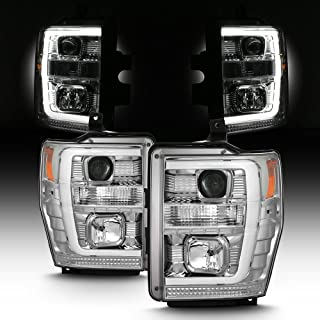 For 2008-2010 Ford F250 F350 F450 F550 Superduty LED Tube Projector Headlights Driver+Passenger Pair