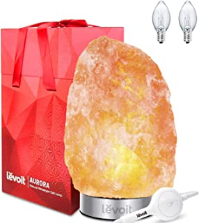 Levoit Aurora Salt Lamp, Himalayan / Hymilain Sea Salt Lamps, Pink Large Salt Rock Lamp, Night Light, 18/8 Stainless Steel Base, Dimmable Touch Switch, Luxury Gift Box (ETL Certified, 2 Extra Bulbs)