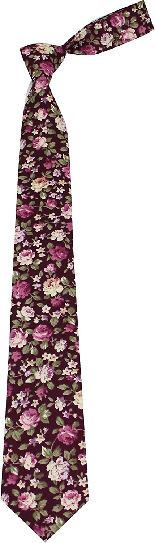 Mens Cotton Floral Print Ties - Wedding Neckties - Slim Tie