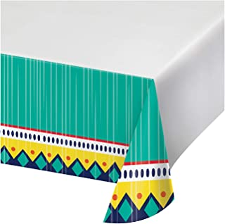 """Creative Converting Colorful Pottery Paper Tablecloth, 54"""" x 102"""", Turquoise, Yellow, White an Red"""