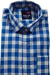 FireBall Men's Cotton Regular Fit Formal Shirt (Blue, L)