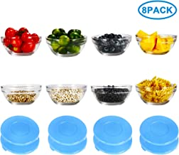 RUCKAE Glass Bowls With Lids For Kitchen Prep, Dessert, Dips, and Candy Dishes or Nut Bowls, 3.9 Inch,Set of 8