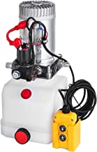 Happybuy 1.6KW Single Acting Hydraulic Pump Kit Dump Trailer Power Pack Unit 12V DC with 4.5L Reservoir Tail Trailer Tipper Hand Operated Lift Stacker Scissor Lift