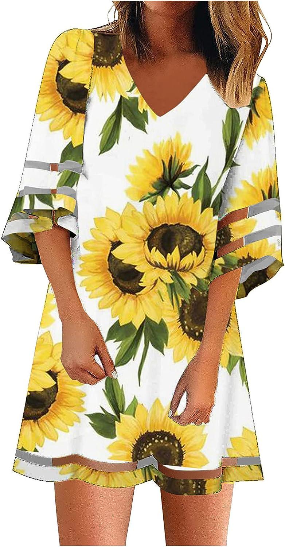 Lovor Dress for Women Casual Sunflower Mesh Panel 3/4 Bell Sleeve Loose Tunic Sundress Casual A Line Short Mini Dresses
