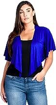 Modern Kiwi Women's Plus Size Cascading Short Sleeve Bolero Cardigan (1X-4X)