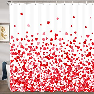 JAWO Heart Shower Curtain, Valentine's Day Falling Red Heart Fabric Bathroom Curtain and Hooks, Waterproof Shower Curtain Set 69x70Inches