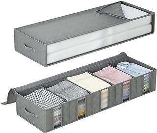 DIMJ Lot de 2 Sac de Rangement sous Lit Pliables avec Compartiments, Sac de Rangement Vetement Non-Tissé avec Fenêtre Tran...
