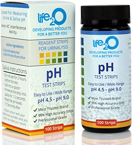 pH Test Strips for Urine & Saliva 100ct | Alkalinity & Acidity Testing Strips to Test Body pH Blanace & Levels | Plan...