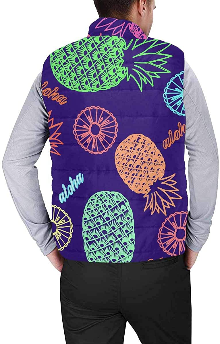 InterestPrint Men's Outdoor Casual Stand Collar Padded Vest Coats Colorful Moroccan Tiles