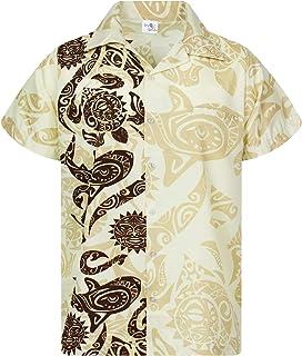 King Kameha Hawaiian Shirt for Men Funky Casual Button Shortsleeve Down Very Loud Maori Wedding Print Unisex