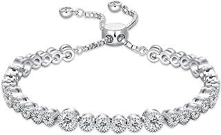 SISMIURRA Four Leaf Clover Snowflace Link Bracelet 18K White Gold Plated 5A Cubic Zirconia Chain Heart Good Luck Bracelet ...