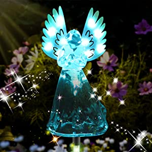 ROSRAN Solar Angel Lights Waterproof Solar Angel Garden Statue with 13 LED Light Solar Garden Decorations Outdoor Gift Garden Gifts for Women Housewarming Solar Powered Stake Light 7 Color Changing