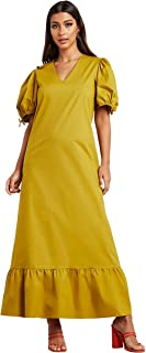 Solid V Neck Volume Maxi Women's Dress with Tie-Cuff Sleeves