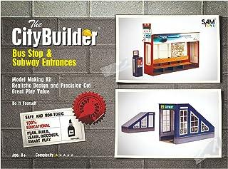 The CityBuilder Bus Stop & Subway Entrances Cardboard Model Making Kit - O Scale Model Railroad Building