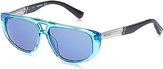 نظارات شمسية للجنسين من ديزل DL030690X54 - ازرق لامع/ ازرق عاكس - بلاستيك