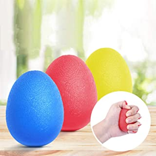 Gnker 3 x Gel Hand Therapy Exercise Balls - Firm/Medium/Soft- Stress Relief for Adults and Children/Kids (Blue Red Yellow)