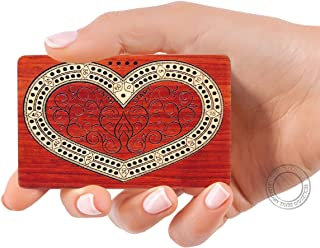 House of Cribbage - 2 Track - Wooden Travel - Pocket Size Cribbage Board - Heart (♥) Design - Size: 4 Inch - Bloodwood / Maple Wood - Storage Space for Cribbage Pegs - 60 Points - Non Continuous