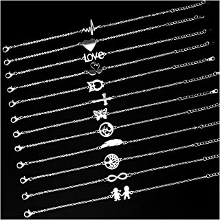 Charm Bracelet Stainless Steel 12pcs/lot Chain Link Simple Slim Cute DIY Style Jewelry Women Girls Gift Love Wedding Party Xmas Gift