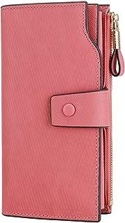 Women's RFID Blocking Large Capacity Luxury Wax Genuine Leather Clutch Wallet Card Holder Organizer Ladies Purse Stripe Pink