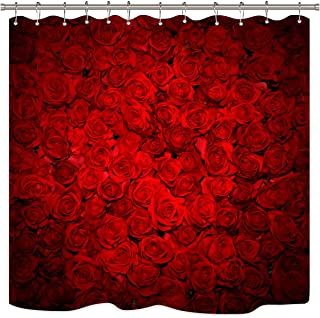 Mothers Day Design Flowers Shower Curtain Liner Bathroom Polyester Fabric Hooks