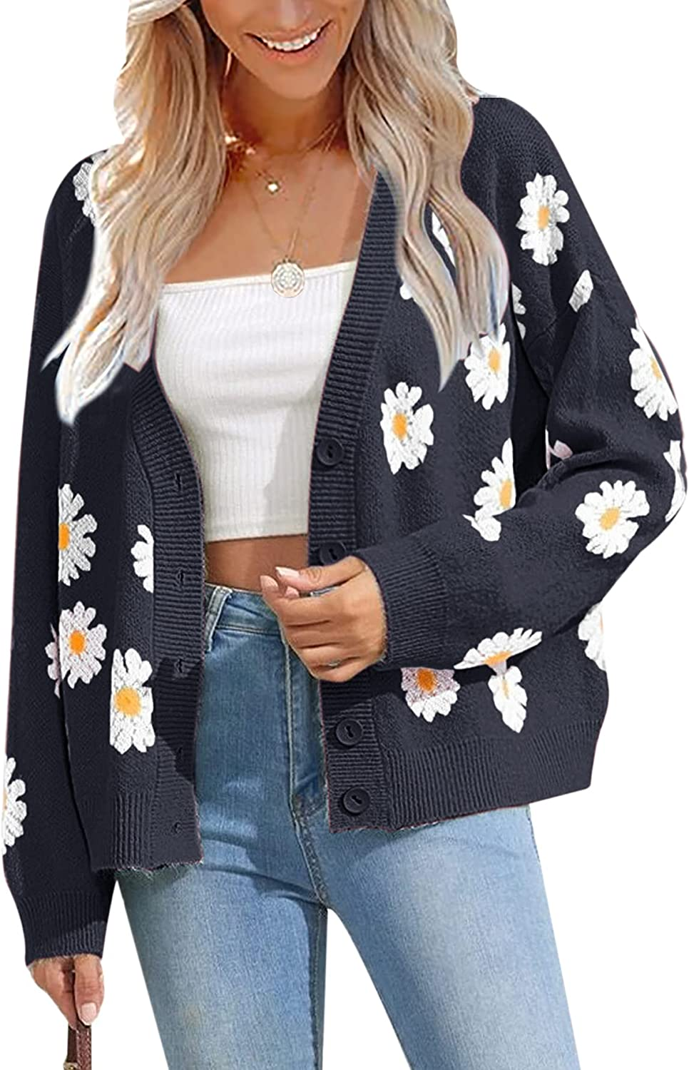Women's Floral Print Open Front Button Down Cardigan Long Sleeve V Neck Knitted Sweaters