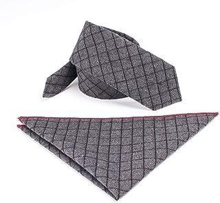DIEBELLAU Casual Men's College Plaid Set Tie Pocket Towel 6cm Cotton Tie (Color : 1)