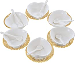 Set of 6 Small Porcelain Condiment Dishes, Ceramic Ramekins, Dipping Cups, Snack Appetizer Serving Tray, Sauce Dish Plate, Dessert and Ice Cream Bowls