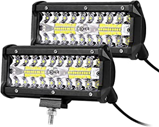 12volt Led Lights,7inch Led Light Bar 240W 24000 LM Triple Row Light Bar Off Road Driving Led Work Lights for UTV ATV Jeep Truck Boat Waterproof, 2packs