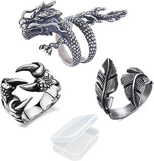 PPX 3 Piezas Anillo Dragon Claw y Anillos de Plata de Pluma Estilo y Anillo Retro Ajustable Gótico P