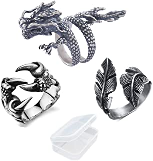 Ring Biker Gothic Mittelalter Drache Dragon Edelstahl Ring Massiv neu