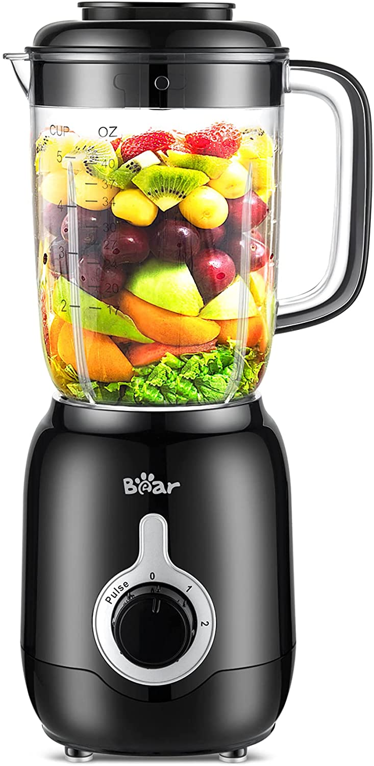 Bear Countertop Blender, Smoothie Professional Blender with 40oz Blender Cup for Shakes and Smoothies, 3 Speed Blender with Self-Cleaning for Crushing Ice, Puree and Frozen Fruit