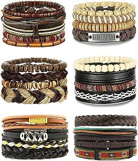 CASSIECA 25 Pcs Bracelets Cuir pour Homme Femme Tressé Bracelet Manchette Corde Bracelet Bijoux en Bois Perlé Vintage Ethn...
