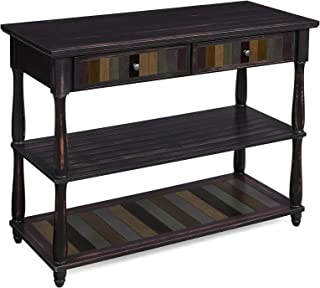 VASAGLE Console Table with Colorful Drawers, 3-Tier Entryway Table with Shelves, for Living Room, Dining Room, Hallway, Assembly Without Tools, Turned Wood Legs, Country Brown