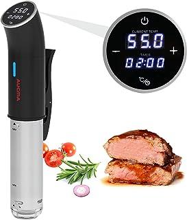 AUCMA Sous Vide Cocina Baja Temperatura,Vaporera para cocinar al vacío 1200W, Circulación en 3D,Pantalla LED táctil,Rango de temperatura de 25-95 °C (± 0,1 ° C), Hasta 15 litros de volumen