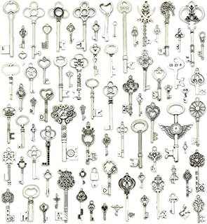 JIALEEY Silver Skeleton Keys Charms, 80PCS Wholesale Bulk Lots Mixed Antique Castle Dungeon Pirate Victorian Filigree Heart Royal Keys