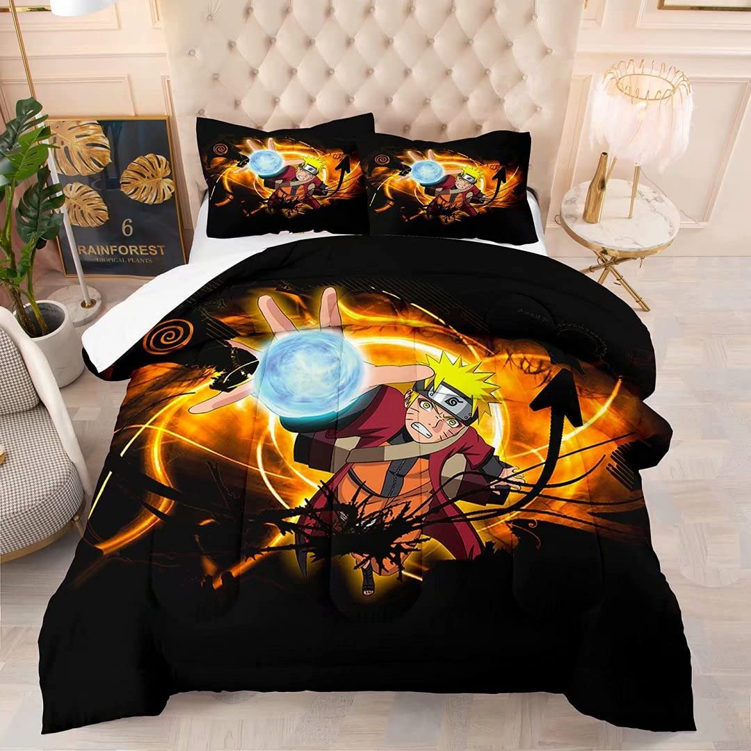 Kids Max 57% OFF Naturo Large special price Comforter 3D Cartoon Anime Sof Set Full Size Bedding