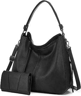 Realer - Set di 2 borse a tracolla da donna, in pelle, con tracolla, portamonete e borse da donna, colore: nero