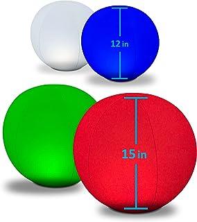 POP Design 4-PK Floating Pool Lights 2x12 Globes, 2x15 Globe 4 Color Settings Solar LED Balls Inflatable Waterproof Floata...