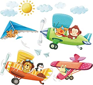 DECOWALL DA-1506B 3 Animal Biplanes Kids Wall Stickers Wall Decals Peel and Stick Removable Wall Stickers for Kids Nursery Bedroom Living Room