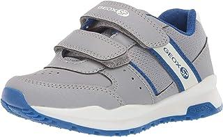 Geox Coridan Boy 7 SP Velcro Sneaker, Dark Grey/Royal, 32 Medium US Little Kid