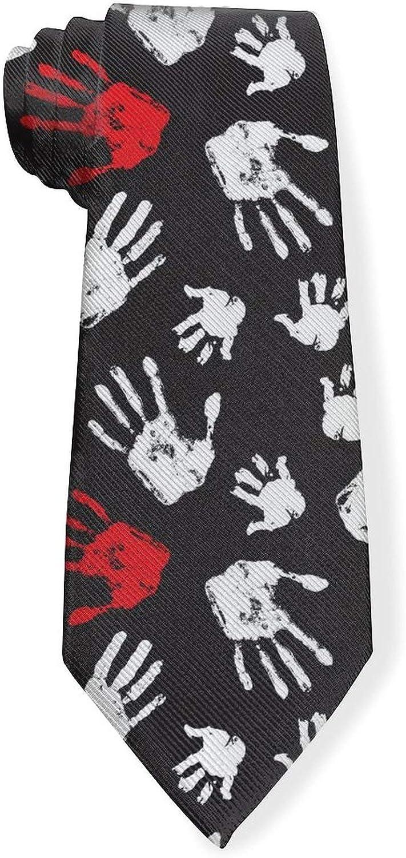 Black And White Hand Shapes HandprintMens Classic Color Slim Tie, Men's Neckties, Fashion Boys Cravats