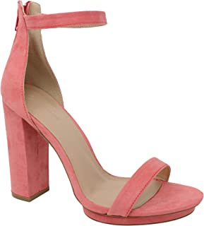 Wild Diva Women's Pace-02 High Chunky Block Heel Pump Dress Heeled Sandals (5.5 M US, Blush V. Suede)